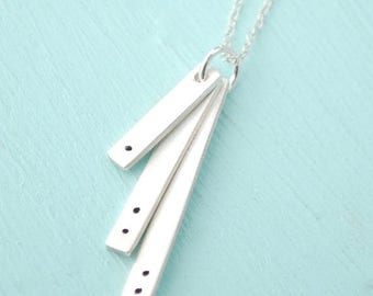 ON SALE Cascading Bars, DOTS Rectangular Pendants- handmade sterling silver handcrafted by Chocolate and Steel