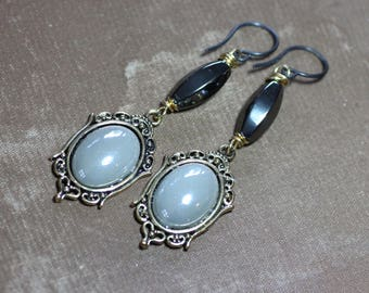 Pearlescent Gray Earrings Hematite Victorian Long Ornate Earrings Black and Gold