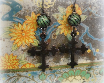 yipes stripes earrings vintage green and black striped glass cabs + blackened cross hypoallergenic black niobium ear wires