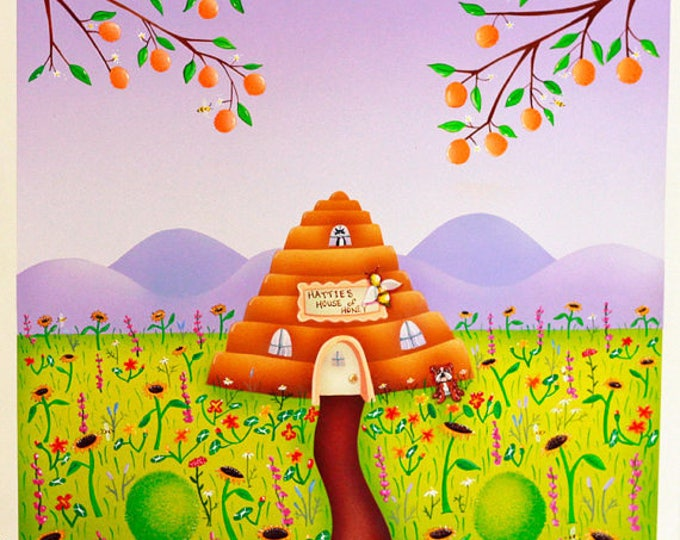 HONEY HOUSE Framed Art Print | Insect Painting | Gardeners Floral Wall Art | Garden Bee Hive Print | Bee Skep Art |Valerie Walsh Art | 12x12