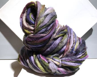 "Thick and Thin Art Yarn, bulky handspun yarn ""Summer Shadows"" Navy purple chartreuse lavender lilac indigo pink Crochet, Knitting, weaving"