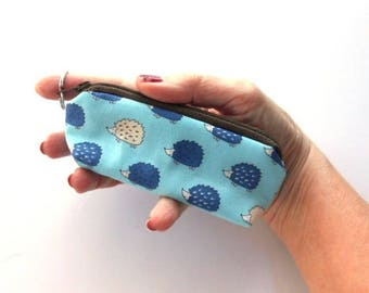 Small Coin Purse Mini Key Ring Zipper Pouch Japanese Import Sky Blue Hedgehogs ECO Friendly Padded Lip Balm Holder Earbud Pouch