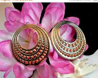 July 4th Sale Metal Dangle Boho Earrings Vintage Aluminum and Orange Round Earrings Boho Dangle Earrings Costume Jewelry Free Shipping in US