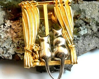 Cat Brooch Pin Gold Silver Two Cats in the Window, Liz Claiborne Vintage Brooch Pin, Birthday Gift