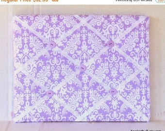 Christmas In July 30% Off Purple Damask Memory Board French Memo Board, Fabric Ribbon Bulletin Board, Fabric Pin Board, Fabric Message Board