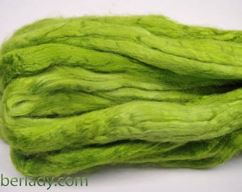 4 oz Hand painted Bamboo combed top spinning fiber -  Misty Green