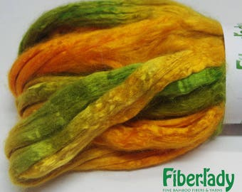 4 oz Hand painted Bamboo combed top spinning fiber - Autumn Trails