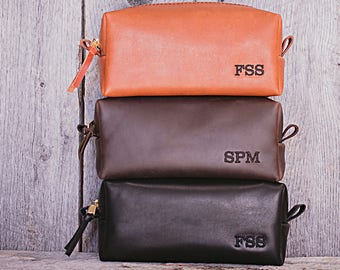 Personalized SET OF 11 GROOMSMEN  Gift | Leather Toiletry Bags | Travel bags  Gift for man | Leather Dopp Kit Personalized men's