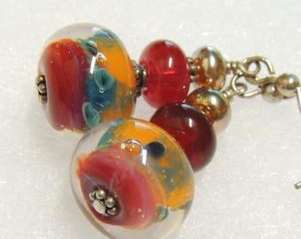 ARCADIA Handmade Lampwork Bead Dangle Earrings