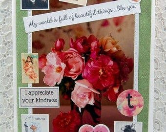 """Thank You Card- Gratitude Card- Friendship Card- Grateful Card-You Made My Day-You Are The Best Blank Greeting Card & 1"""" Pin Back"""