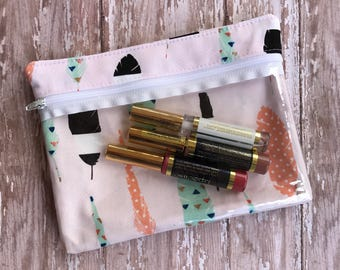 Lipsense Bag Clear Zipper Pouch Gift For Her Makeup Bag Feather Print Transparent Bag First Aid Bag Clear Front Bag Cosmetic Bag