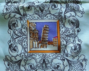 Vintage Blue Square Scarf Collectible Tourist Souvenir Tower Pisa Como Panorama