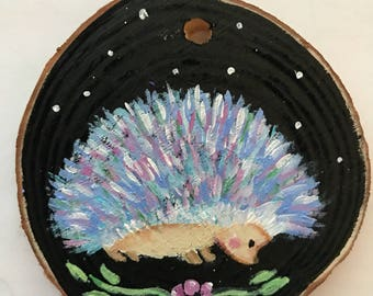 Shy hedgehog hand painted ornament