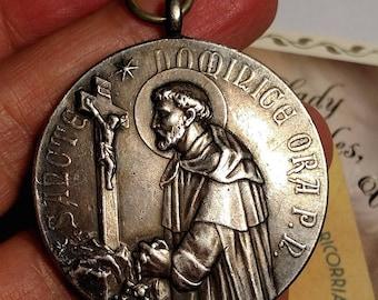 Huge Vintage Antique Heavy Silver Saint St Dominic Religious Medal Pendant Fine Detail