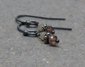 Andalusite Earrings Petite Minimalist Gemstone Stack Pink Beige Oxidized Sterling Silver Gift for Her