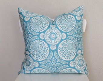 """Couch throw pillow Cover, Invisible zipper, closure, Blue Twill. 18"""" square, Home decor, cushion, Blue motif, joel dewberry fabric"""