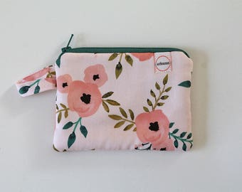 coin purse, pocket wallet, change purse, mini zipper pouch, earbud pouch, business card holder, Pink floral small bag, teacher gift card