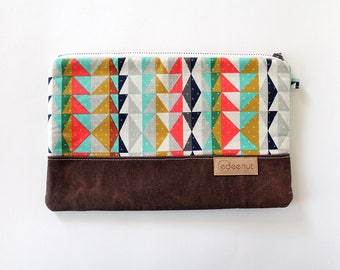 Zipper Clutch, Waxed canvas, Kindle, ipad device padded sleeve, metal zip pouch, canvas bag, Diaper wipes holder, makeup organizer, aztec