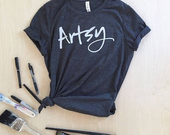 NEW - Artsy T-shirt - charcoal or white