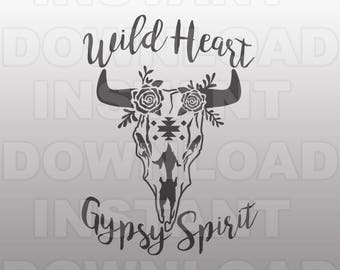 WILD HEART Gypsy Spirit Cow Skull SVG File,Boho svg file - cricut svg,silhouette svg,svg cut,cuttable svg,svg cut file,vector svg,tshirt svg