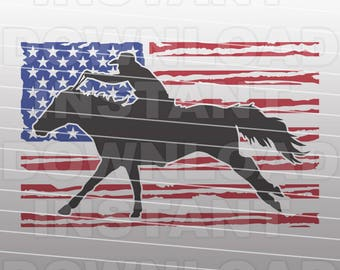 Patriotic Cowboy SVG,Distressed USA Flag Barrel Racing SVG File,Rodeo svg -Commercial & Personal Use- Cricut,Silhouette Cameo,Iron on Vinyl