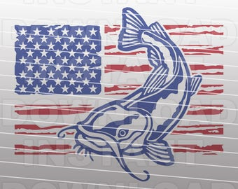 USA Catfish Fishing SVG File,Flathead Catfish SVG File -Commercial & Personal Use- Vector Art for Cricut,Silhouette Cameo,iron on vinyl,htv