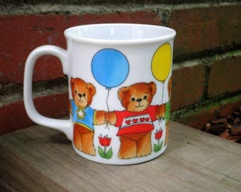 Vintage Teddy Bear Coffee Cup / Mug - Retro 80s Collectible Enesco Lucy And Me Ceramic Bears Mug - Brown Bears + Balloons Animal Lover Gift