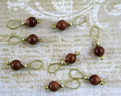 Goldstone Gemstone Stitch Markers With Gold Findings - US 5 - Set of 8 - Item No. 503
