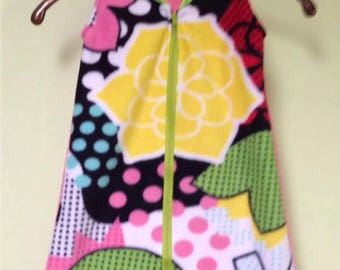 NEW-Fleece-Mod Floral-Blanket Sleep Sleeper Sack-0-3 Mo-Handmade-Custom
