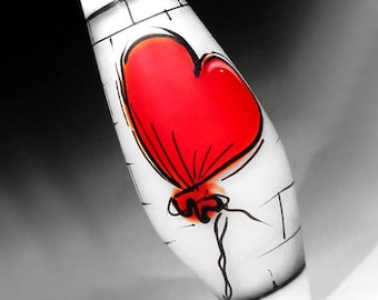 Red Balloon on White Brick Wall Illustration in Glass, handmade lampwork glass bead focal by JC Herrell