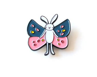 Bunny Butterfly enamel pin   limited edition