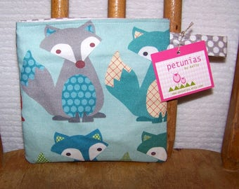 Reusable Little Snack Bag - pouch kids adults eco friendly foxes exclusive fabric by PETUNIAS