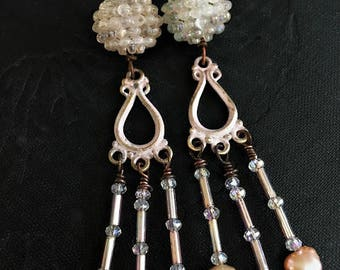 Shabby Chic Pink Chandelier Earrings