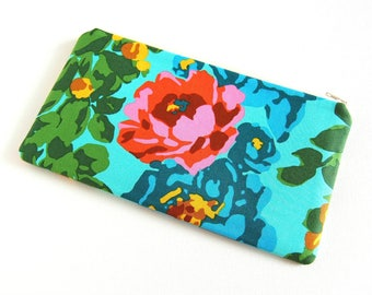 Floral Print Zipper Pouch Case Bag - Sunglasses, Makeup, Storage, Organizer, Eternal Sunshine, Amy Butler