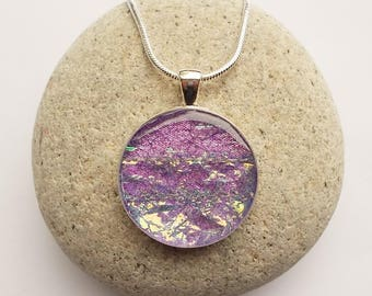 Pendant Necklace Lilac Iridescent Circle