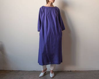 1980s purple silk tent dress / boat neck dress / woven easy fit maxi dress / s / 2254d / B6