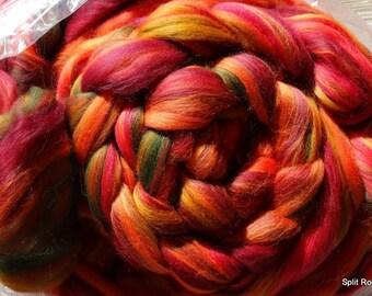 4 oz Autumn Splendor Merino Combed Top Custom Blend Reds, Golds, Oranges, Green to Spin, Felt, Fiber Art