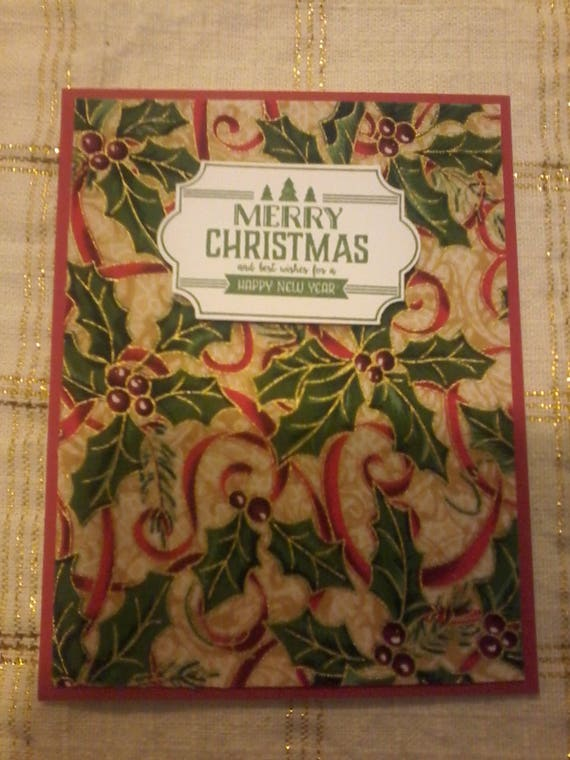 Christmas Card with Holly Fabric Metallica background