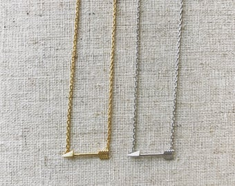 Aim Far simple arrow necklace in silver or gold
