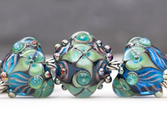 Victorian Style Ornate Floral Flourish Lustre Turquoise Bead Handcrafted Lampwork Glass European Charm Big Holed Trio by Clare Scott SRA