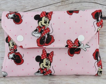 Minnie / Pink Fabric | Crayon Wallet Stowaway Take Along Holder  | Organizer | Keeper | Art Kit | Personalized Name Tag Applique Available