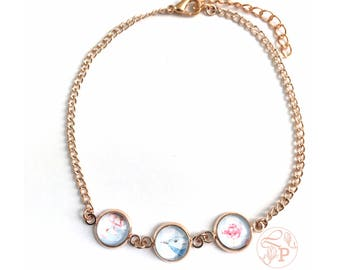 Rose gold blue bird glass anklet / Bluebird anklet jewellery vintage look / Rose gold flower glass jewellery / Watercolour flower jewellery