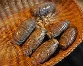 Ethnic Asian Design Carved Beads Gemstone Large Agate pink/brown
