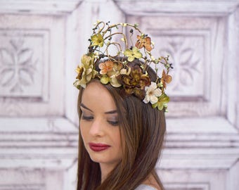 Gold Woodland Crown, Ivory, Green and Brown, Woodland Crown, Headdress, Headpiece, Fairy Crown, Elven Crown, Bridal Headpiece, Wedding, Boho