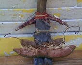 On Sale Primitive Doll, Cat,  Farmer Cat Watermelon and Field Mouse
