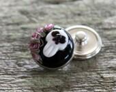 Floral Fantasy Snap Button Skull Pink Black White