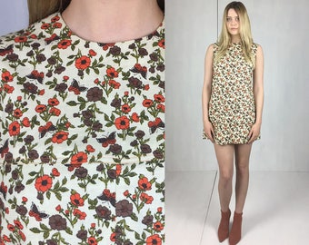 60s Rust Floral Mini Dress