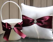 Ivory/White/Silver Flower Girl Basket/Ring Bearer Pillow-Burgundy Satin Ribbons and Rhinestone Bling-Custom Ribbon Colors- U-Pick Pieces