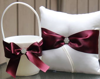 Ivory/White/Silver Flower Girl Basket/Ring Bearer Pillow-Burgundy Satin Ribbons and Rhinestone Bling-Custom Ribbon Colors- U-Pick Pieces