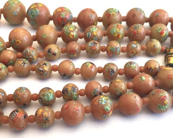 Vintage necklace Japanese millefiori  beads  coffee Tan beige latte Color Jewelry  little flowers graduated 21 inches 16mm